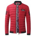Stand Collar Zip-Up Striped Pattern Quilted Jacket