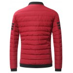 Stand Collar Zip-Up Striped Pattern Quilted Jacket deal