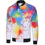 Zipped Stand Collar Painting Jacket