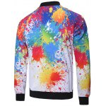 cheap Zipped Stand Collar Painting Jacket
