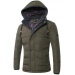 cheap Drawstring Hooded Zip-Up Snap-Fastener Quilted Jacket