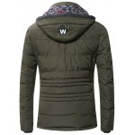Drawstring Hooded Zip-Up Snap-Fastener Quilted Jacket deal