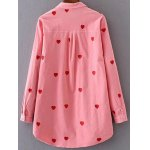 cheap Heart Pattern Embroidered Corduroy Shirt