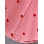 best Heart Pattern Embroidered Corduroy Button Up Shirt