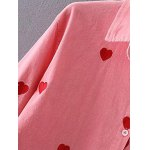 Heart Pattern Embroidered Corduroy Button Up Shirt deal