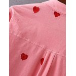 Heart Pattern Embroidered Corduroy Button Up Shirt for sale