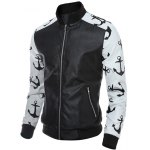 cheap Stand Collar Zip-Up Printed Spliced PU Jacket