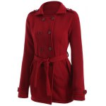 cheap Double-Breasted Fitted Belted Overcoat