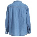 cheap Plus Size Chambray Shirt with Pocket