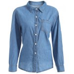 Plus Size Jean Shirt with Pocket