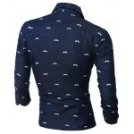 cheap Beard Printed Long Sleeve Chambray Shirt