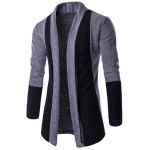 best Turndown Collar Color Block Longline Cardigan
