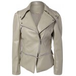 cheap Zippered Length Adjustable Faux Leather Biker Jacket
