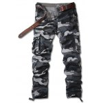 Zipper Fly Straight Leg Camouflage Pockets Embellished Cargo Pants
