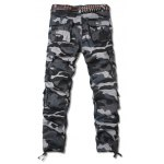 cheap Zipper Fly Straight Leg Camouflage Pockets Embellished Cargo Pants
