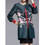 cheap Flower Embroidered Collarless Coat
