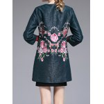 Flower Embroidered Collarless Coat for sale