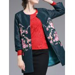 Flower Embroidered Collarless Coat deal