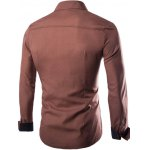 cheap Slim-Fit Color Block Long Sleeve Shirt