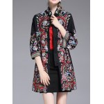 cheap Stand Collar Embroidered Coat with Frog Buttons