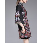 Stand Collar Embroidered Coat with Frog Buttons for sale