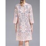See Through Embroidered Collarless Coat for sale