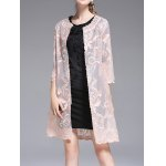 cheap See Through Embroidered Collarless Coat