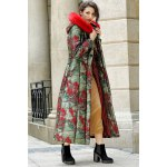 Fur Hooded Printed Longline Padded Coat for sale