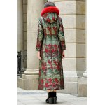 cheap Fur Hooded Printed Longline Padded Coat