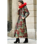 best Fur Hooded Printed Longline Padded Coat