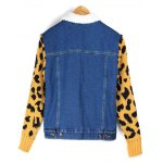 best Leopard Sweater Sleeve Sherpa Fleeced Denim Jacket