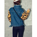 Leopard Sweater Sleeve Sherpa Fleeced Denim Jacket deal