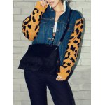 cheap Leopard Sweater Sleeve Sherpa Fleeced Denim Jacket