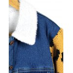 Leopard Sweater Sleeve Sherpa Fleeced Denim Jacket photo