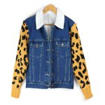 Leopard Sweater Sleeve Sherpa Fleeced Denim Jacket for sale