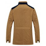 cheap Stand Collar Zip-Up Color Splicing Jacket