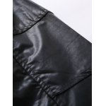 best Zip Pocket Stand Collar Faux Leather Jacket