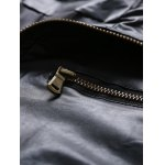 Zip Pocket Stand Collar Faux Leather Jacket for sale