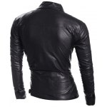 cheap Zip Pocket Stand Collar Faux Leather Jacket