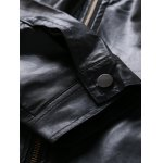 Zip Pocket Stand Collar Faux Leather Jacket photo