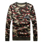 cheap Camouflage Style Round Neck Letters Print Sweatshirt and Pants