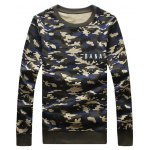 Camouflage Style Round Neck Letters Print Sweatshirt