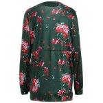 cheap Floral Collarless Open Front Coat