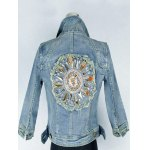 Retro Back  Metallic Rivet Denim Jacket for sale