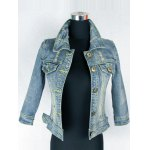 Retro Back  Metallic Rivet Denim Jacket deal
