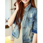 cheap Retro Back  Metallic Rivet Denim Jacket