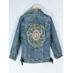 Retro Back  Metallic Rivet Denim Jacket photo