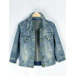 best Retro Back  Metallic Rivet Denim Jacket