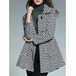 cheap Double Breasted Houndstooth Coat