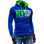 cheap New York Printed Kangaroo Pocket Pullover Hoodie